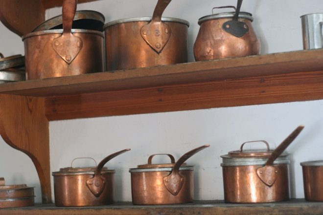 Copper Pots in Colonial Kitchen